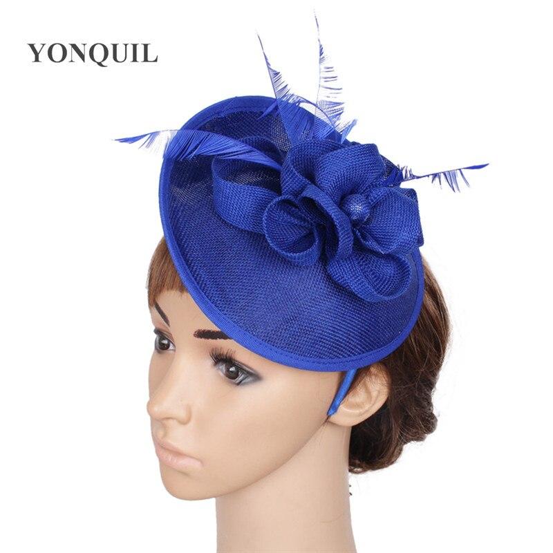 Royal Blue Hair Fascinators For Short Hair Imitation Sinamay Fascinators Hats Wedding Hair Accessories High Quality 22 Colors