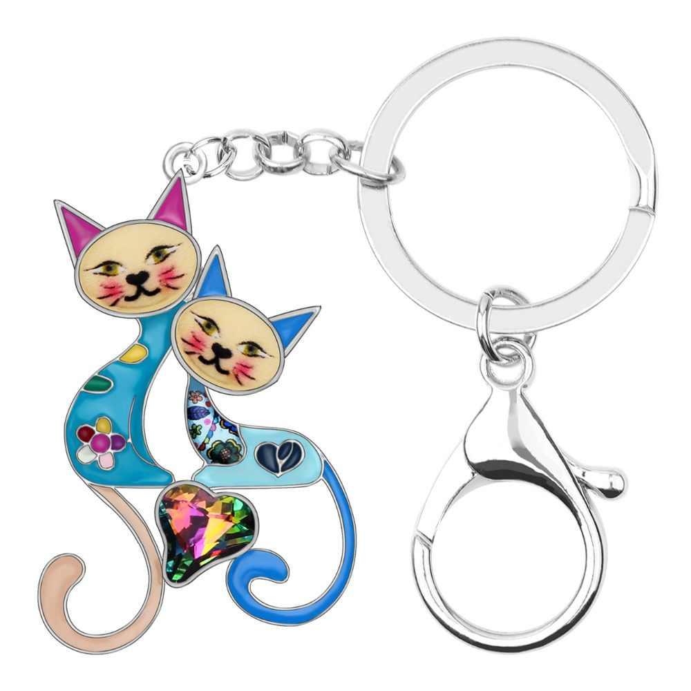 Bonsny Enamel Rhinestone แมวคู่ Key Keychains แหวนสัตว์เลี้ยงเครื่องประดับสำหรับสาวผู้หญิงที่ดีที่สุดเพื่อน Charms กระเป๋าของขวัญ