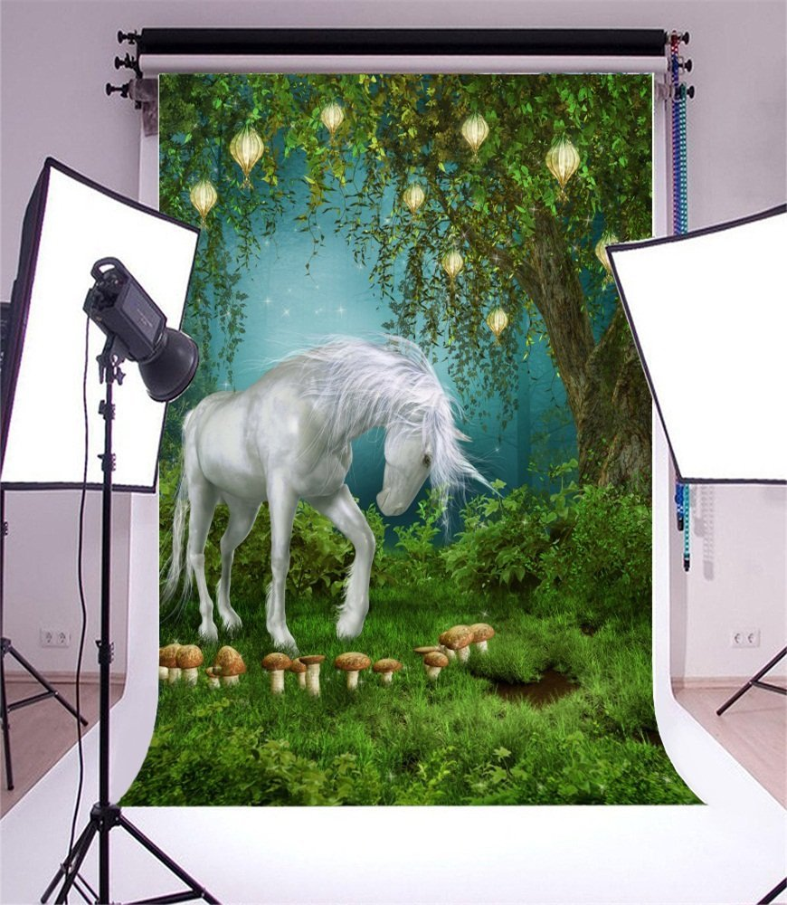 Fairy Tale Forests meadow unicorn trees mushroom grass backdrops Vinyl cloth High quality Computer print wall Backgrounds vinyl photography background fairy tale