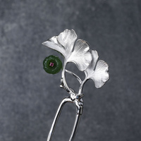 Ginkgo Leaf Stone Inlay Silver Hair Stick Thai Silver Chinese Hairpin 2 prong Hair Fork Pin Jewelry Pince Cheveux Femme WIGO1401