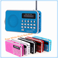 Mini PortableDual Banda FM Estéreo Digital Recargable LLEVÓ el Panel de Visualización Radio Altavoz TF Mirco USB Para Tarjeta SD MP3 Music jugador
