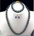 Природный женщины 8 - 9 мм идеальный таити черный павлин зеленый жемчужное ожерелье браслет ювелирные изделия серьги слово бесплатная доставка
