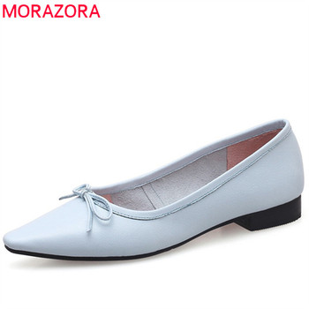 MORAZORA 2019 hot sale fashion flat shoes women genuine leather shoes bowknot solid colors comfortable single shoes woman pink