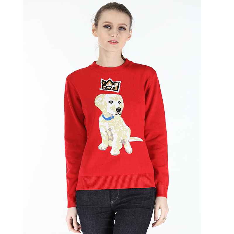 2018 Casual Women Sweaters and Pullovers Sueter Mujer Cashmere Sweater Solid Slim Lovely Dog Pattern Elastic Beads Women Tops