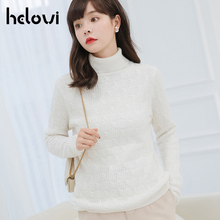Helovi Thick Warm Women Turtleneck 2019 Winter Women Sweaters And Pullovers Knit Long Sleeve Cashmere Sweater Female Jumper Tops children autumn and winter warm clothes boys and girls thick cashmere sweaters