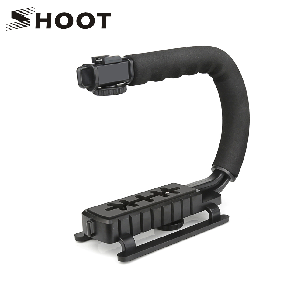 SHOOT C Shaped Holder Grip Video Handheld Stabilizer for DSLR Nikon Canon Sony Camera Stabilizer for GoPro Hero 7 6 5 Yi 4k SJ7 shoot diy handheld stabilizer for gopro hero 5 4 3 sjcam sj4000 xiaomi yi 4k stabilizer for nikon dslr camera dome port