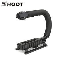 SHOOT C Shaped Holder Video Handheld Stabilizer Grip for DSLR Camera For Nikon Canon Sony Camera puluz for steadycam u grip c shaped handgrip camera stabilizer w h tripod head phone clamp adapter for steadicam dslr stabilizer