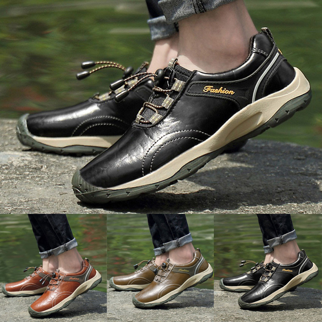 Men Hiking Leather Shoes Waterproof Non-Slip Sports Shoes Travel Climbing Shoes