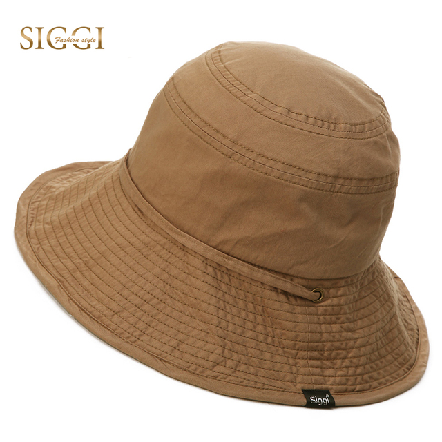 276ddd3d695 SIGGI Summer Bucket Sun Hat Unisex men cotton UPF 50+ packable women sunhat  outdoor UV cap boonie vented crown lining 89034