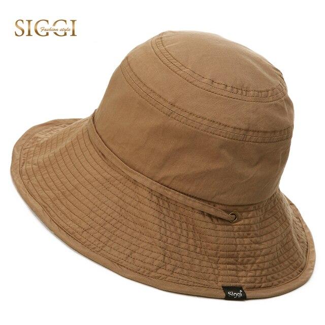 33ec4967 SIGGI Summer Bucket Sun Hat Unisex men cotton UPF 50+ packable women sunhat  outdoor UV cap boonie vented crown lining 89034