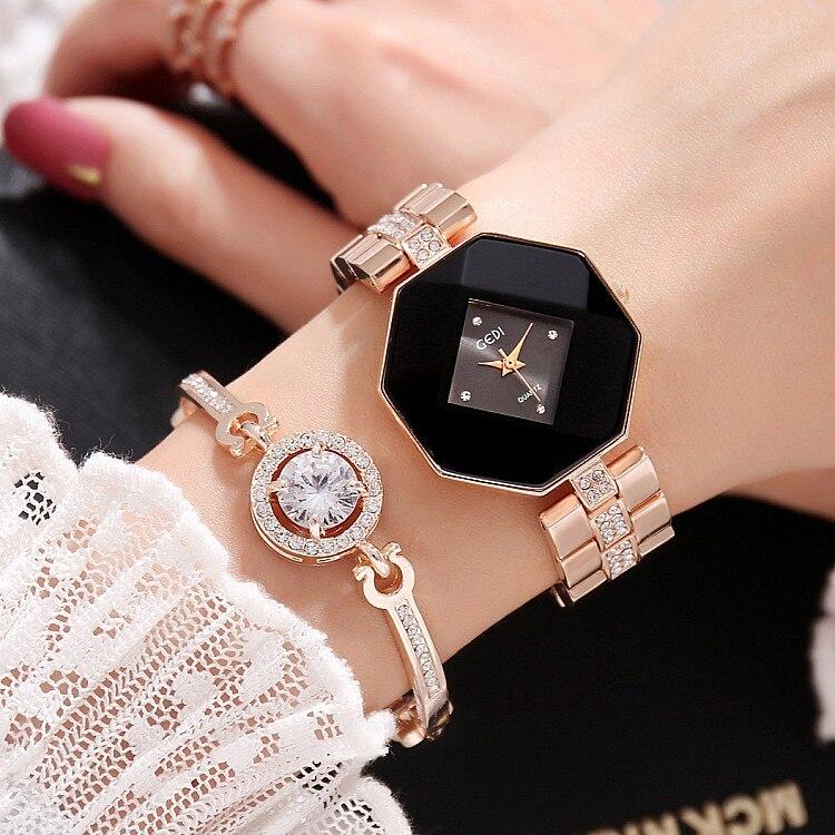 2018 nueva manera de Gedi oro rosa mujeres relojes Top lujo marca señoras reloj de cuarzo 2 unidades relojes Relogio feminino hodinky