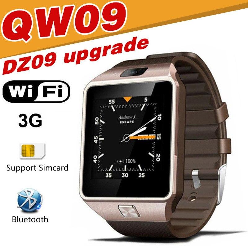 QW09 Смарт-часы DZ09 Обновление Android Bluetooth мобильного телефона Smartwatch 3G Wi-Fi часы вызова SMS Facebook сигнал тревоги для Android xiaomi