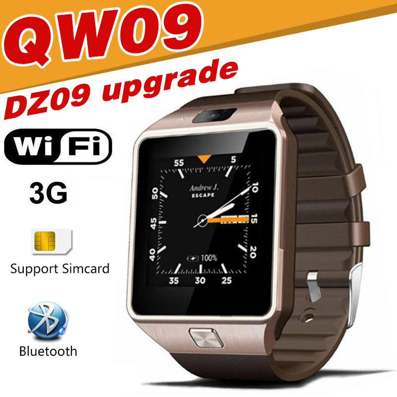 QW09 Smart watch DZ09 Android Upgrade Bluetooth <font><b>Mobile</b></font> <font><b>Phone</b></font> Smartwatch <font><b>3G</b></font> WIFI Watch Call SMS Facebook Alarm For Android xiaomi