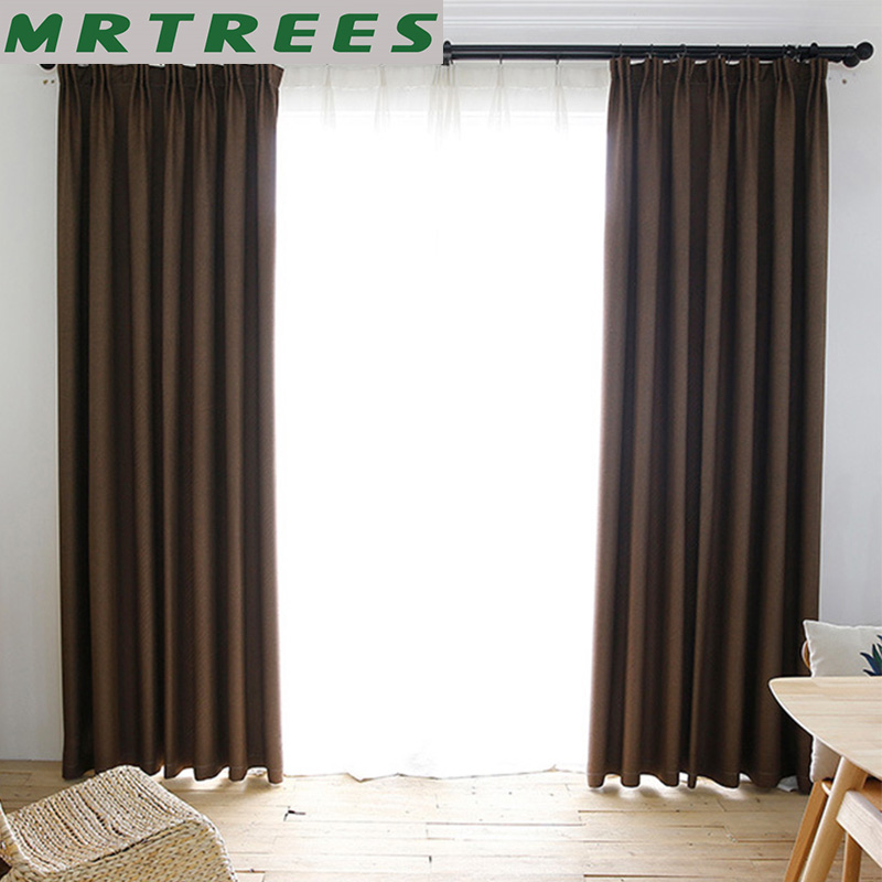 MRTREES Solid Blackout Curtains For Living Room Modern