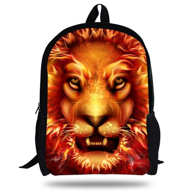 4c2a029dda 16-Inch Boys Mochila Lion Backpack animal school bags for teenage girls  travel back pack primary school student bookbag
