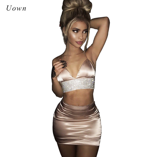 55e376bc20 2 Piece Outfit Set Women Crop Top and Skirt Set Bodycon Satin Slip Suits  Summer Sexy Night Club Wear Party Two Piece Sets 2018