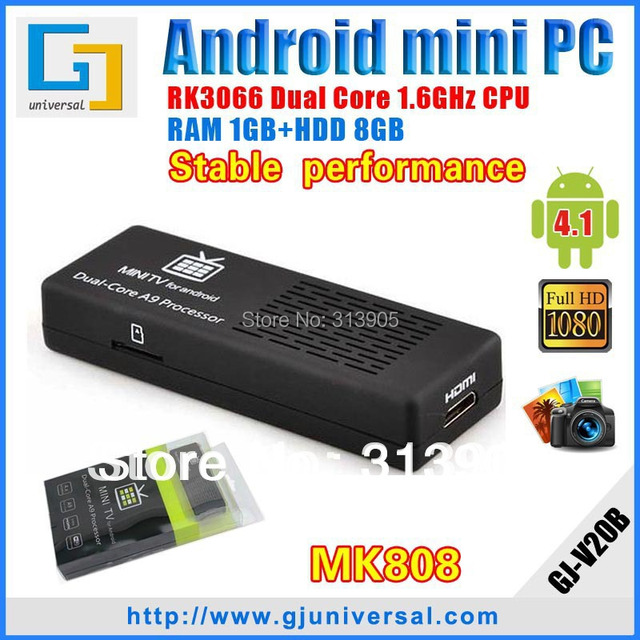 Original stable MK808 with bluetooth Android 4.2 Jelly Bean Mini pc RK3066 cortex A9 Dual core Android TV Dongle