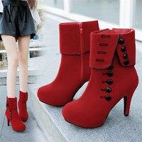 2018 Модные женские ботильоны; модная красная обувь на высоком каблуке; женские ботинки из флока на платформе с пряжкой; женская обувь; PLUE 42
