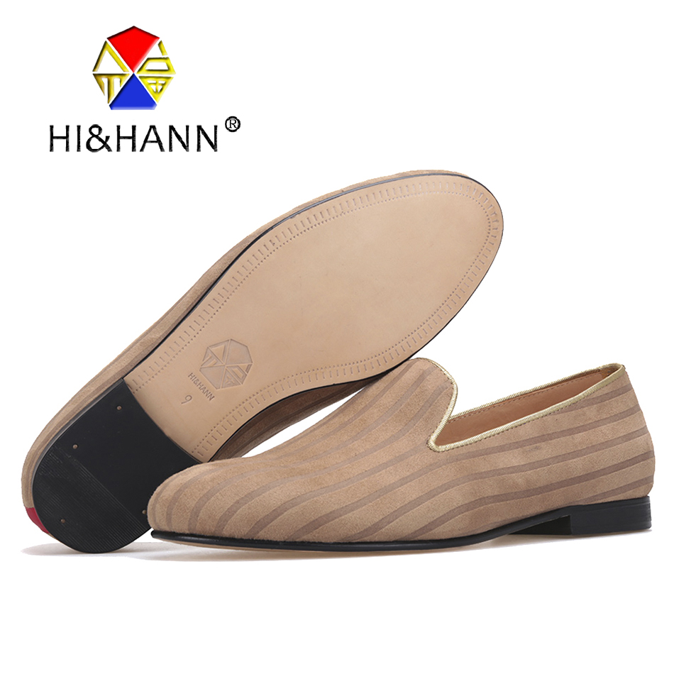 HI&HANN striped design Men Cotton Fabric shoes Fashion Party and Banquet men loafers Leather bottom and insole men dress shoes luxurious genuine leather bottom and insole men handmade loafers wine red velvert with black striped wedding men s dress shoes
