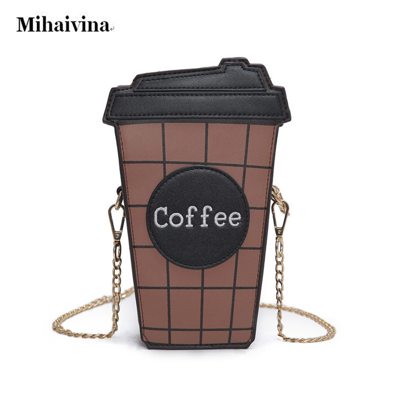 Novelty Coffee Cup Shape Cross body Bag Chain Shoulder Strap Purse Exquisite Handbag Shoulder Messenger Bags for Women Girls.