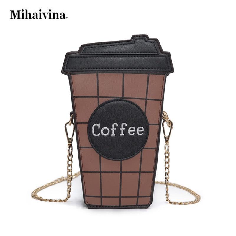 Novelty Coffee Cup Shape Cross body Bag Chain Shoulder Strap Purse Exquisite Handbag Shoulder Messenger Bags for Women Girls.