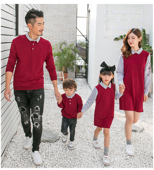 2019 Spring Autumn Family Matching Outfits Mom And Daughter Fake Two-piece Dress Dad Son Sweaters Children Long Shirts
