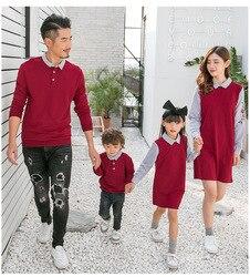 2019 primavera outono família combinando roupas mãe e filha falso vestido de duas peças pai filho camisolas crianças camisas longas