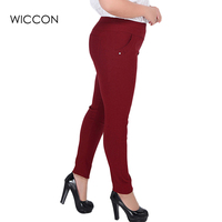 NEW Spring autumn style plus big size 3XL-6XL pants women fashion brand red black green color casual full length trousers fat