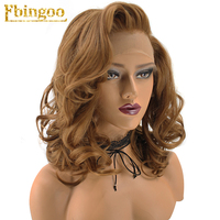 Ebingoo Hair Cap+Free Part Natural Short Wavy High Temperature Fiber Golden Blonde Synthetic Lace Front Wig For Women
