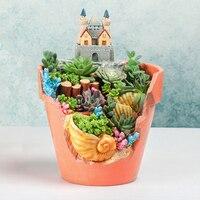 Micro Landscape Flowerpot Home Garden Decoration Planter Creative Sea World Resin Shell Flower Pot Succulent Plants