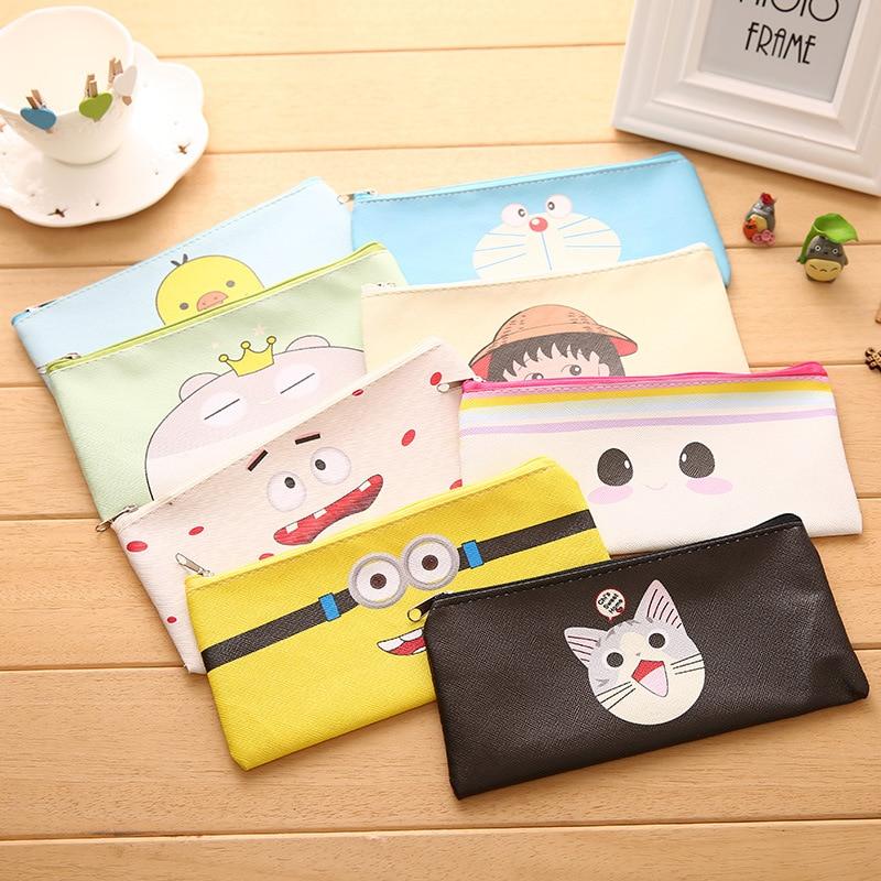 Cartoon PU Cat Pencil case for kids gift Cute Doraemon Cheese cat pencil bag Stationery pouch pen box school supplies