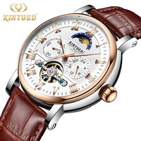 Relogio Masculino KINYUED Mens Watches Top Brand Luxury Tourbillon Automatic Mechanical Watch Moon Phase Men Rose