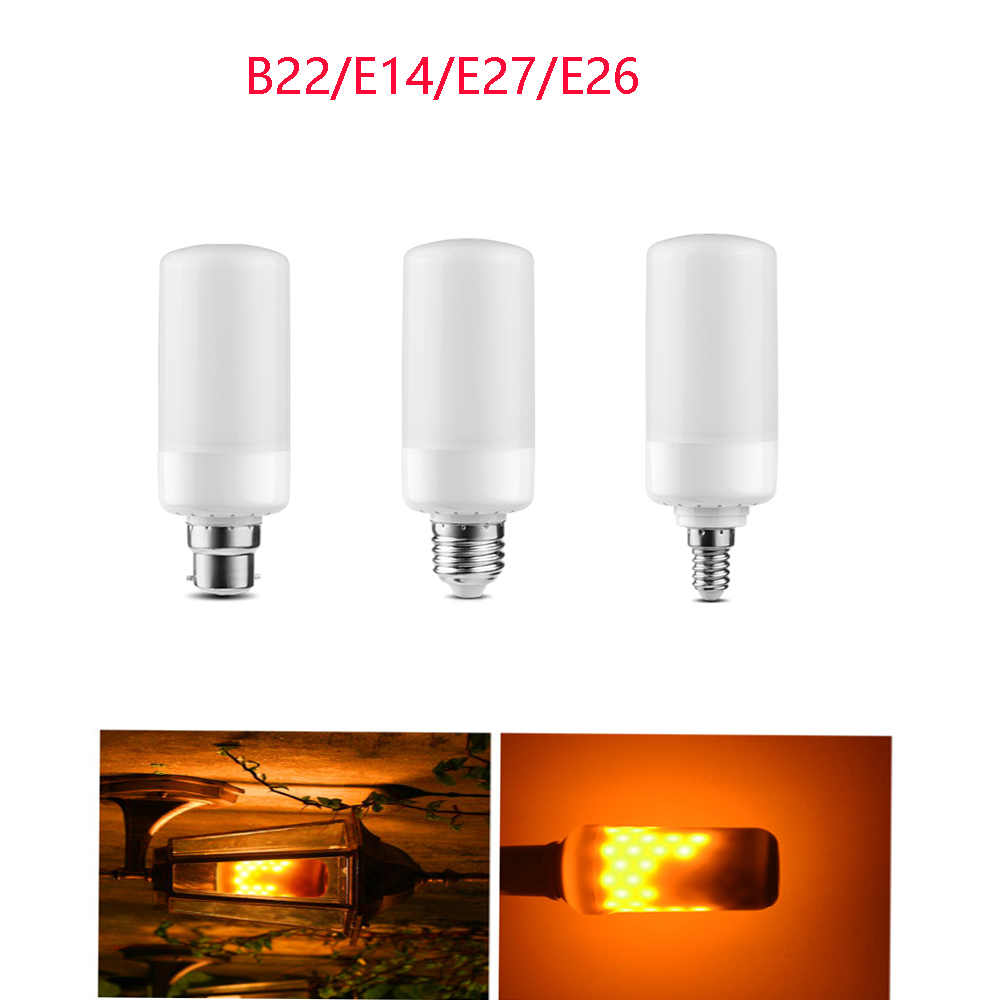 LED Bulb E27 E14 B22 lamp Flame Effect Fire Light 9W Flickering Emulation flame Light 1300K-1800K AC85-265V Flame lamp lighting