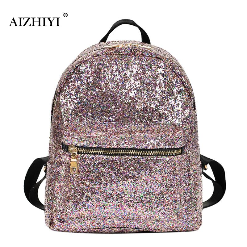Sequins Women Backpacks Glitter Sequins Large Girls Travel Shoulder Bags Fashion Brand School Bag Female 2 Colors Shine Backpack