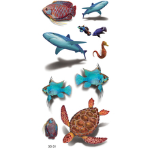3d Hot Fish shark Temporary Tattoo Stickers Waterproof Body Art Turtle Fake Tatoo Paste On Arm Chest Shoulder For Men and woman