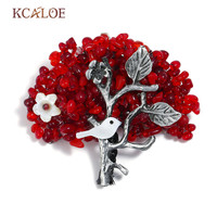 KCALOE Vintage Red Tree Brooches For Women Irregular Natural Stone Handmade Brooch Pin Antique Silver Color Hijab Pins Broszka