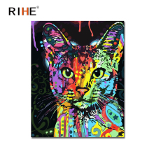 RIHE Colorful Cat Diy Painting By Numbers Animal Oil On Canvas Hand Painted Cuadros Decoracion Acrylic Paint Home Decor