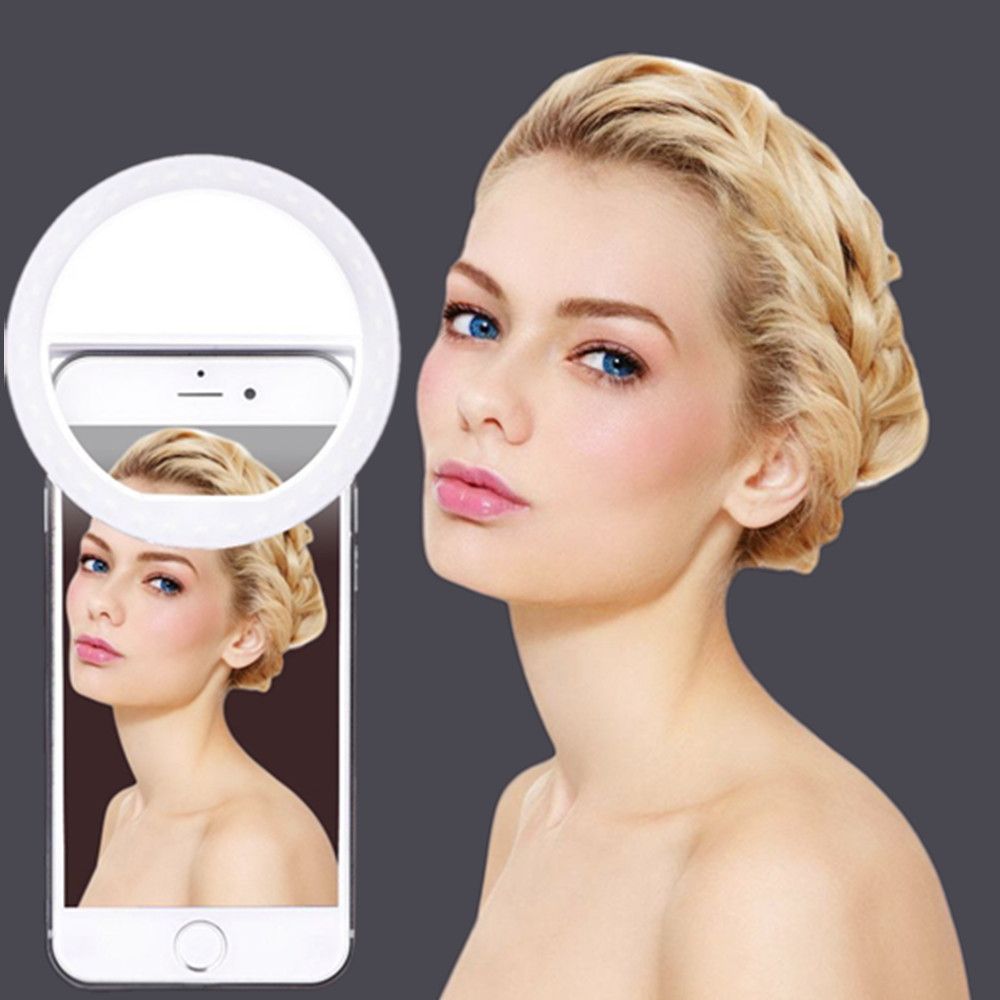 2PCS Selfie Ring selfie light photographic lighting with USB Charge ringlight Led ring for iPhone 6 7 X xiaomi light for photo