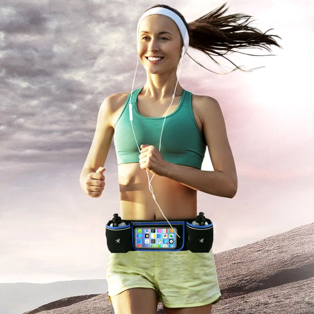 Sports Hydration Belt Bottle Holder Fanny Pack Touch Screen Phone Holder Marathon Running Reflective Adjustable Waist Belt Bag ...
