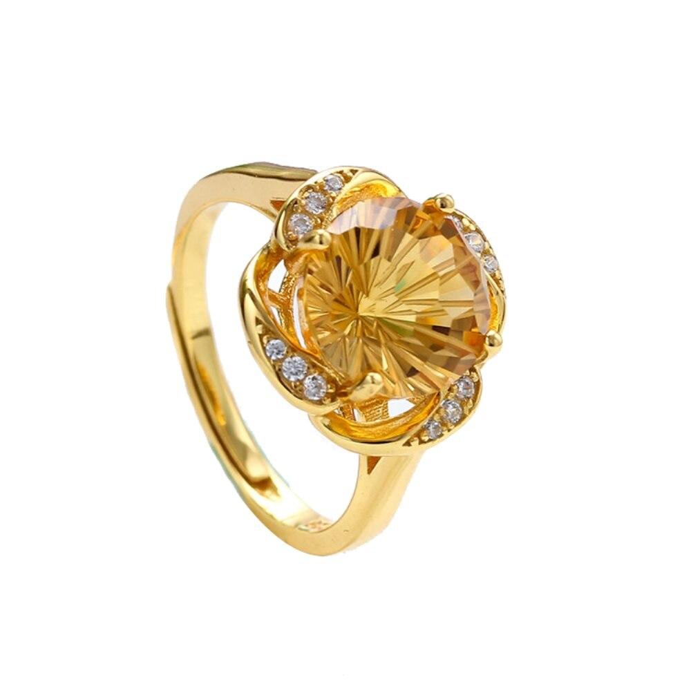 Bijou bijoux usine à la mode 925 en argent sterling naturel jaune citrine violet améthyste anneau réglable femmes