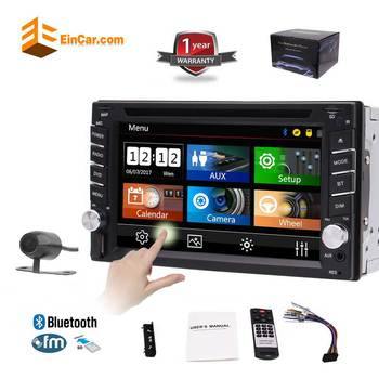 Double 2 Din Stereo CD DVD Player 6.2 HD Digital Touchscreen Car Radio 1080p Video Bluetooth Subwoofer USB SD SWC + Back Camera image