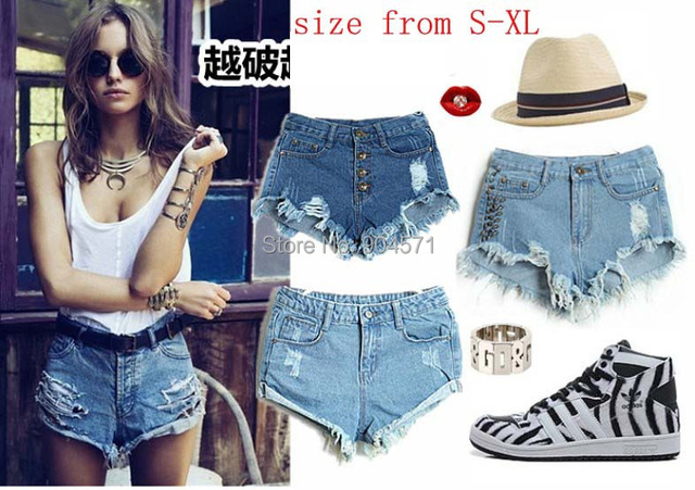 New Denim Shorts Women High Waist Jeans Ripped Hole Wash White Cool Sexy Hot Casual Fashion Short Blue Summer