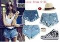 Novos Shorts Jeans Mulheres De Cintura Alta Calça Jeans Rasgado Buraco Wash Branca Legal Sexy Hot Casual Moda Curto Azul de Verão