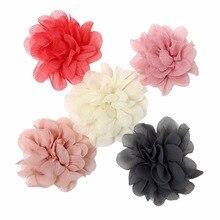 30pcs/lot 5Colors New Hot Chic Blossom Flowers For Headband Crochet Chiffon Accessories Princess