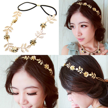 Hot Women's Ladies Beauty Golden Alloy Baroque Leaf Flower Headband Hair Band 6RCU 7EIL