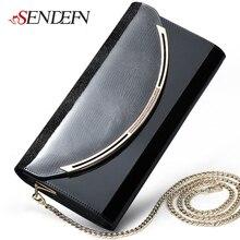 Sendefn цепью клатчи металлической ремне сцепления партии день кожи качество кошелек