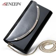 Sendefn Quality Leather Women Party Day Clutches Shoulder Bag Women Handbag Fashion Clutch Purse Metal Chain Wallet
