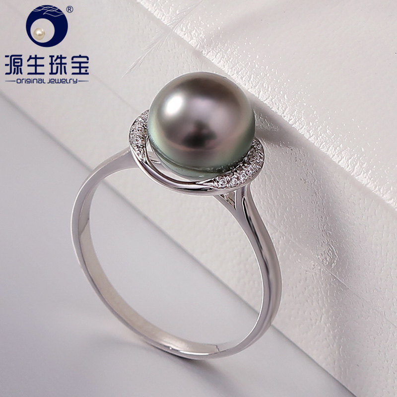 YS 925 Sterling Silver 8-9mm Natural Round Black Tahitian Cultured Pearl Ring Fine Jewelry daimi 10 10 5mm black tahitian pearl ring 925 sterling silver ring luxury jewelry