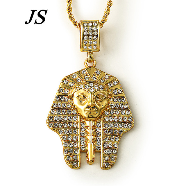 JS Vintage 100% 24K Gold Plated Egyptian Pharaoh Face Necklace Hip Hop 75cm Long Gold Rope Chain Jewelry HN029