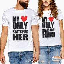 Summer Matching Women Men Couple Short Sleeve T-Shirts Valentine Family Tops Lover Creative Letter Print My Only Beats For Her letter print matching couple tee